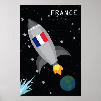 France Flag Rocket Ship Poster