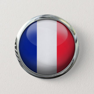 France Flag Round Glass Ball Pinback Button