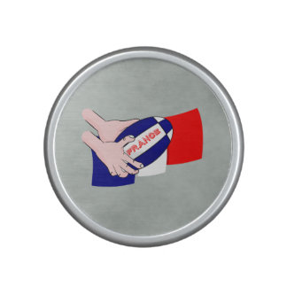 France Flag Rugby Ball Cartoon Hands Bluetooth Speaker