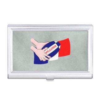 France Flag Rugby Ball Cartoon Hands Business Card Holder