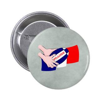 France Flag Rugby Ball Cartoon Hands Button