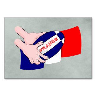 France Flag Rugby Ball Cartoon Hands Card