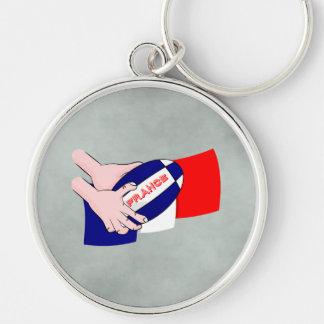 France Flag Rugby Ball Cartoon Hands Keychain