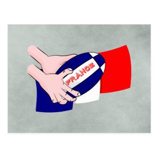 France Flag Rugby Ball Cartoon Hands Postcard