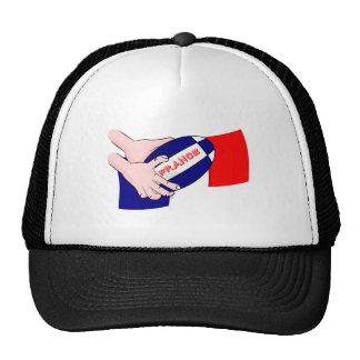 France Flag Rugby Ball Cartoon Hands Trucker Hat