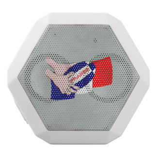 France Flag Rugby Ball Cartoon Hands White Bluetooth Speaker