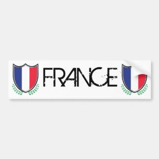 France Flag Shield w/ Laurels Bumper Sticker