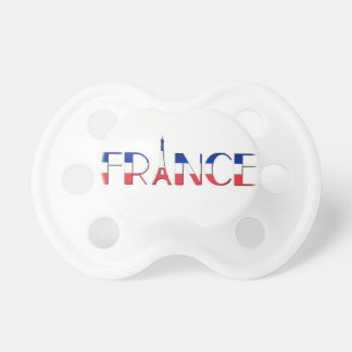 France flag with Eiffel Tower blue, red, white Pacifier