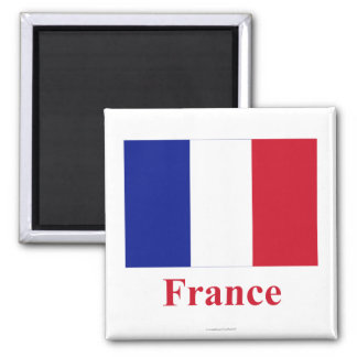 France Flag with Name 2 Inch Square Magnet