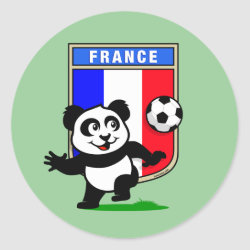 Round Sticker with France Football Panda design