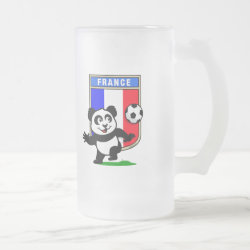 France Football Panda Frosted Glass Mug