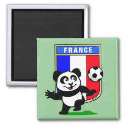 France Football Panda Square Magnet