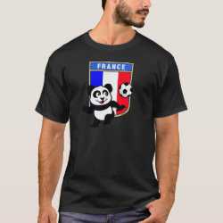 Men's Basic Dark T-Shirt with France Football Panda design