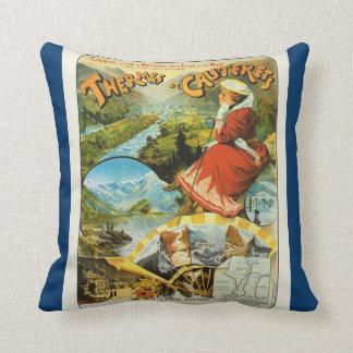 France, French Travel poster Thermes de Cauterets Pillow