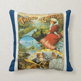 France, French Travel poster Thermes de Cauterets Throw Pillow