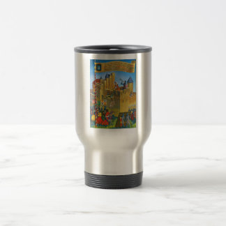 France, French vintage Medieval Carcassonne 15 Oz Stainless Steel Travel Mug