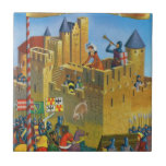 France, French vintage Medieval Carcassonne Small Square Tile