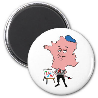 France French Vintage Travel Souvenir Caricature 2 Inch Round Magnet