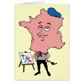 France French Vintage Travel Souvenir Caricature Greeting Card