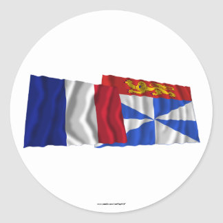 France & Gironde waving flags Classic Round Sticker