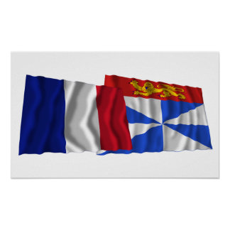 France & Gironde waving flags Poster