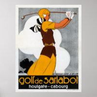 France Golf Vintage Advertising Poster Restored