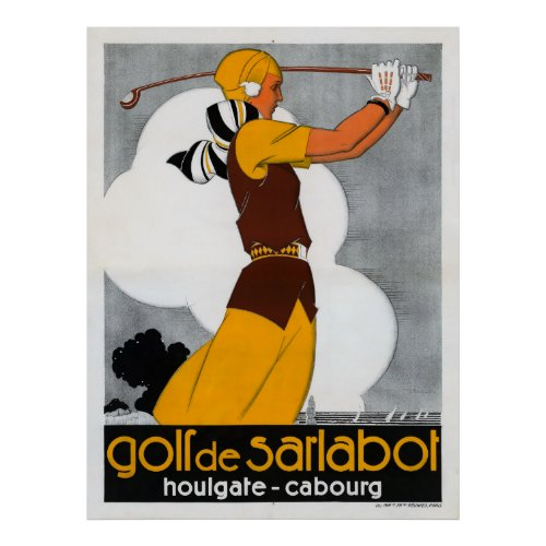 France Golf Vintage Advertising Poster Restored