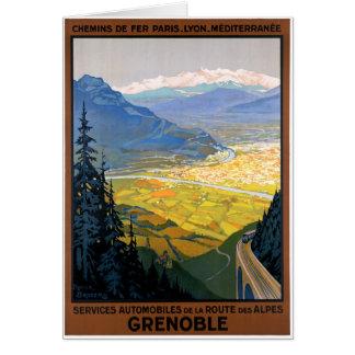 France Grenoble Restored Vintage Travel Poster Card