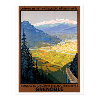 France Grenoble Restored Vintage Travel Poster Postcard