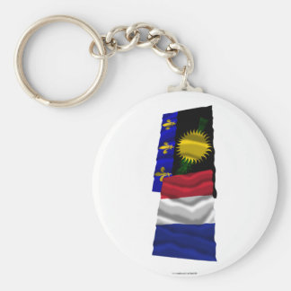France & Guadeloupe waving flags Keychain
