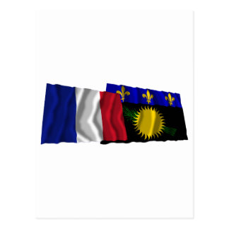 France & Guadeloupe waving flags Postcard