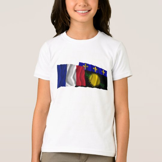France & Guadeloupe waving flags T-Shirt