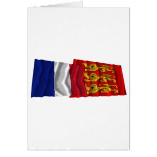 France & Haute-Normandie waving flags Card
