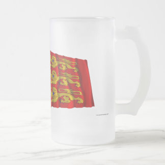 France & Haute-Normandie waving flags Frosted Glass Beer Mug