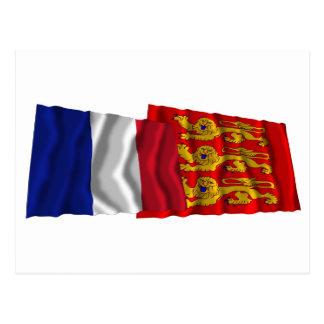 France & Haute-Normandie waving flags Postcard
