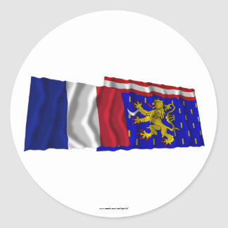 France & Haute-Saône waving flags Round Stickers