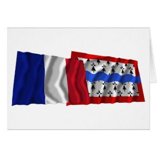 France & Haute-Vienne waving flags Card