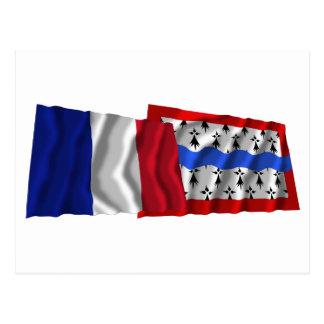 France & Haute-Vienne waving flags Postcard