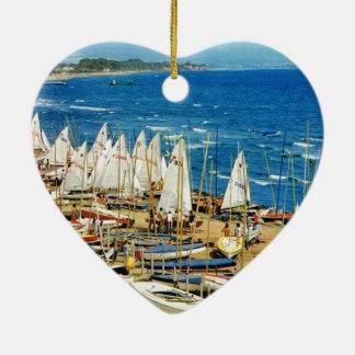 France, Hyeres, Var, Port and Marina Ceramic Ornament