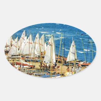 France, Hyeres, Var, Port and Marina Oval Sticker