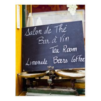 France, Ile-de-France, Paris, Menu sign in a Postcard