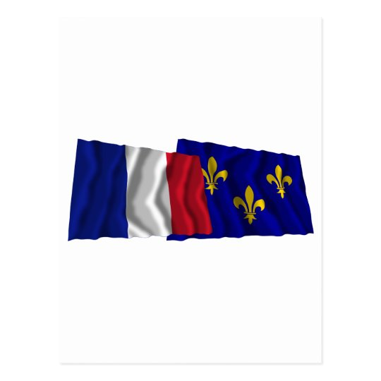 France & Île-de-France waving flags Postcard