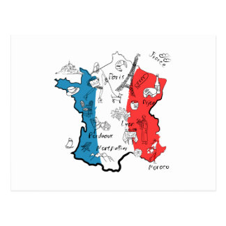 France Illustrated Map Postcard