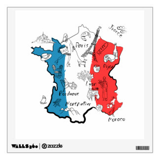 France Illustrated Map Wall Decal