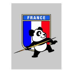 Postcard with French Javelin Panda design