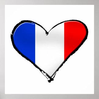 France Je Taime flag of France I heart France gift Poster