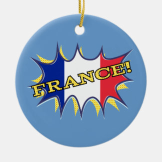 "France ""KAPOW flag starburst Christmas Tree Ornaments"