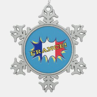 """France """"KAPOW flag starburst Ornament"""