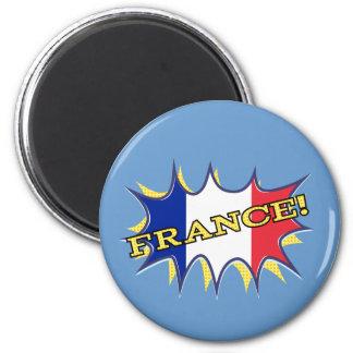 """France """"KAPOW flag starburst Refrigerator Magnet"""