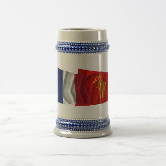 France & Languedoc-Roussillon waving flags Beer Stein